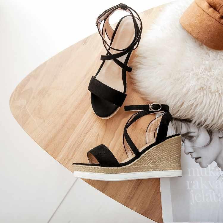 ใหญ่ขนาด 9 10 11 12 wedges รองเท้าผู้หญิงรองเท้าแตะผู้หญิงรองเท้าผู้หญิงสุภาพสตรีฤดูร้อน wedges และแพลตฟอร์มหัวเข็มขัดเปิดเผย