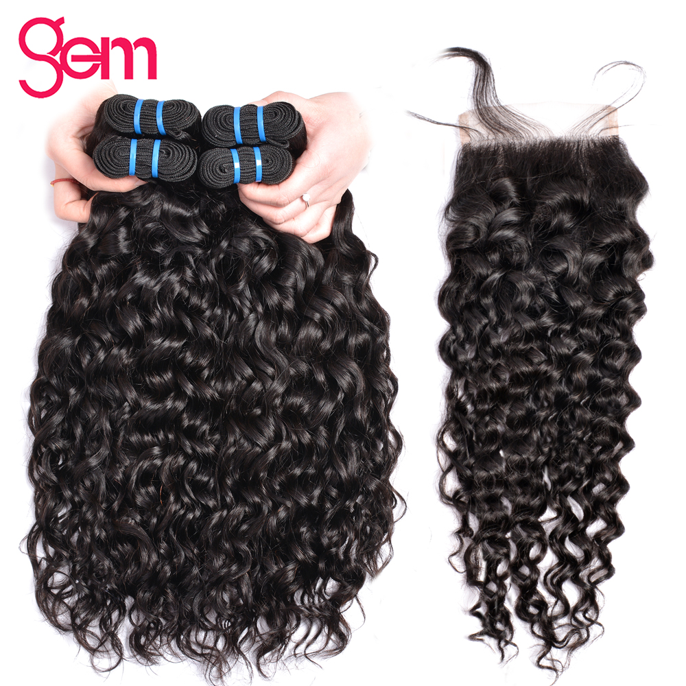 Brazilian Water Wave Bundles With Closure Human Hair 3 Bundles With Lace Closure Free Part GEM