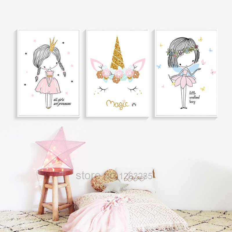 Girls Baby Girl Unicorn Room Decor Picture Nordic Poster Cuadros Decoration Salon Wall Pictures For Living Room Quadro Unframed