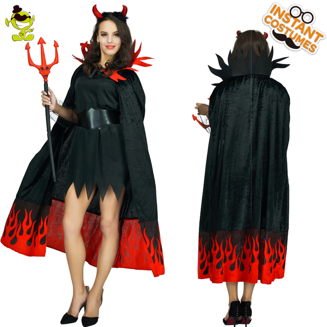 783e3517aa1a Women Devil Costume Red Flames Evil Queen Fancy Dress Party Cosplay ...