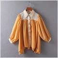 Irregular Ruffle Chiffon Blouse 2017 Spring Summer Elegant Plus Size Blouses Lantern Sleeve Women Shirts with long sleeve