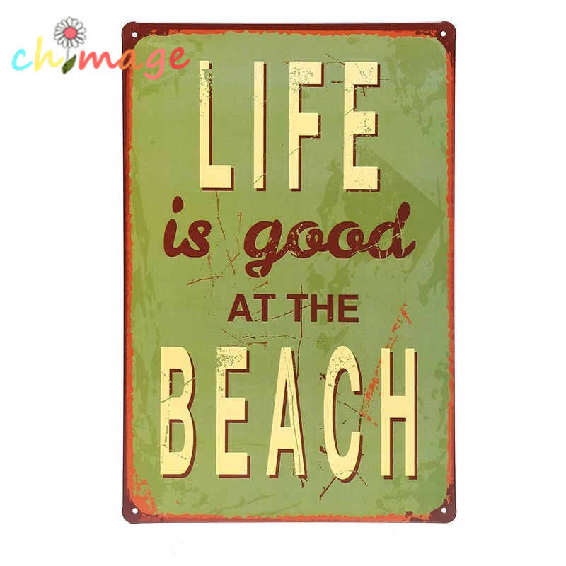 Life is good at the beach tin sign bar pub home wall decor for Life is good home decor