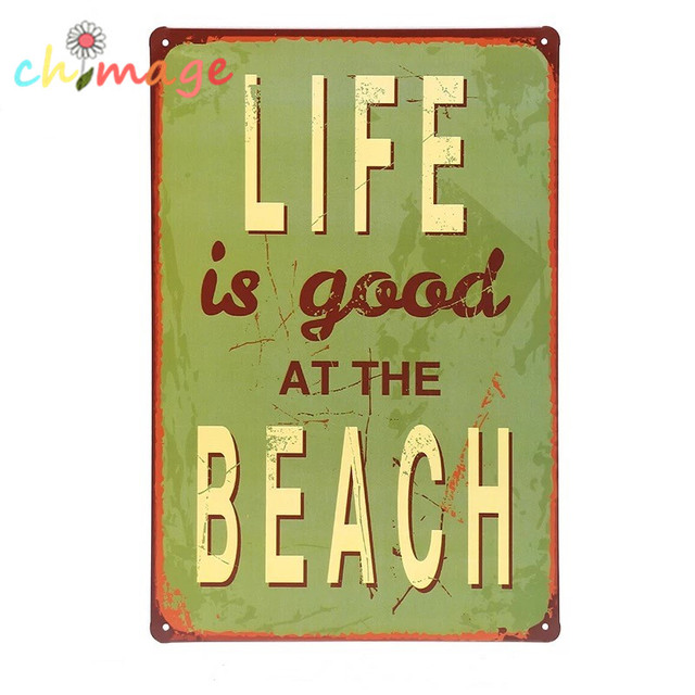 Life Is Good At The Beach Tin Sign Bar Pub Home Wall Decor Retro Metal Art