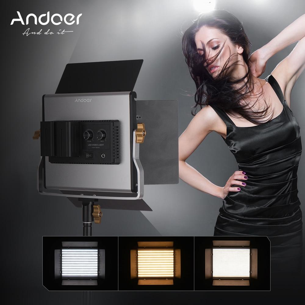 Andoer Aluminum Alloy LED Video Lamp Light 660 LED Bulbs Dimmable Bi Color Light Panel 3200