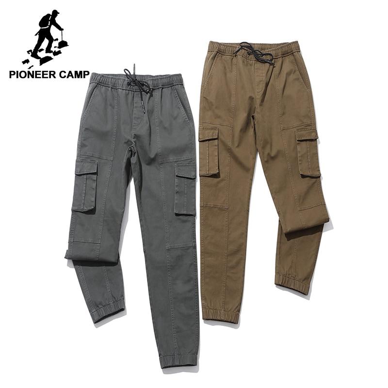 Пионерский лагерь Повседневная штаны-карго мужчины Группа одежда мода Облегающие штаны мужские брюки стретч качества хаки army green AXX705296