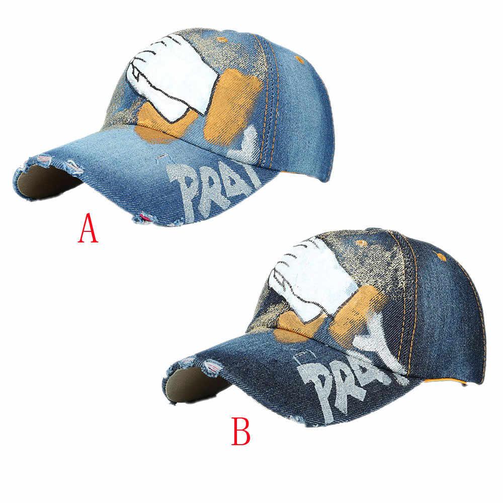 Baseball Cap Women Men Hat Hand Painted Denim Rhinestone Caps Snapback Hip Hop Flat Summer Mesh Hats Casual Black Fashion-30