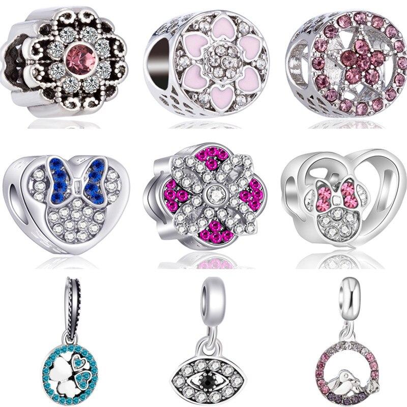 Mickey Beads Charms-Bracelets Glass-Cup Key-Chili Gifts Evil Fit Pandora Party Eye-Minnie