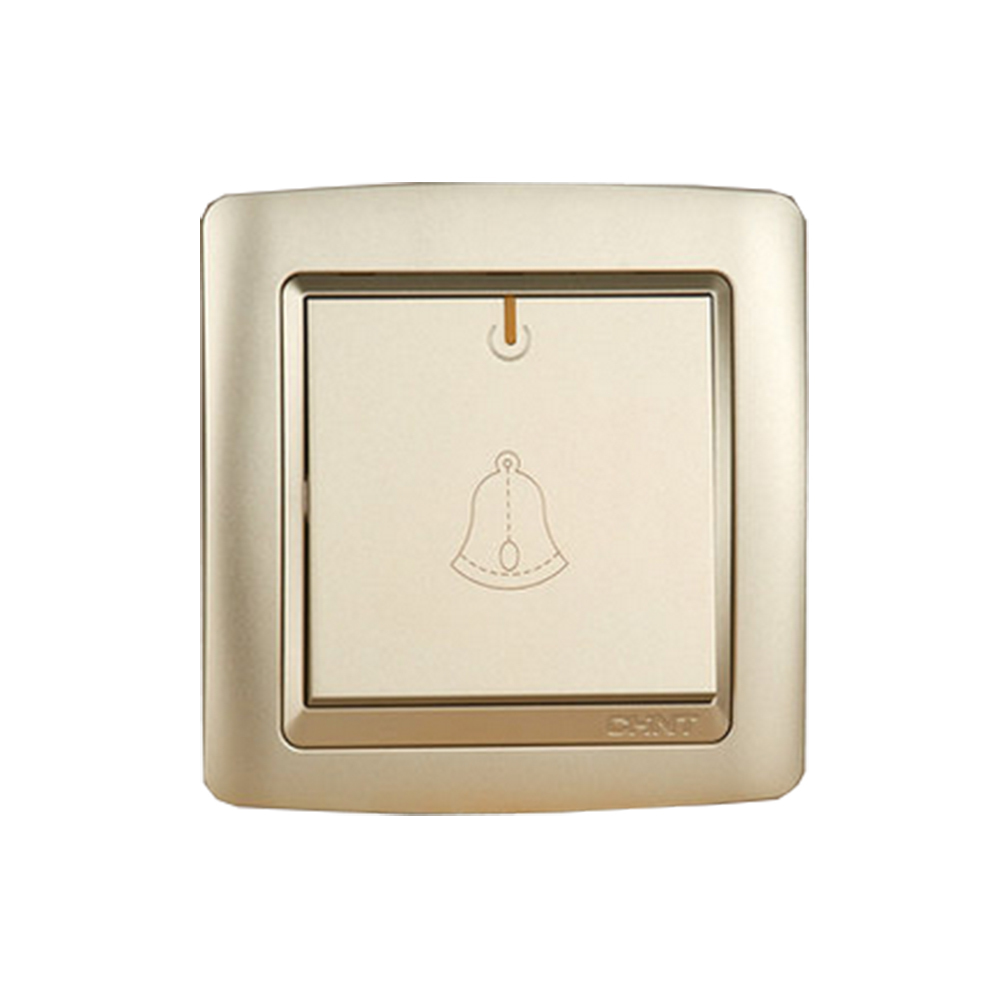 CHINT NEW2K Campainha Botão Interruptores De Parede Interruptor de Luz de Ouro Champagne