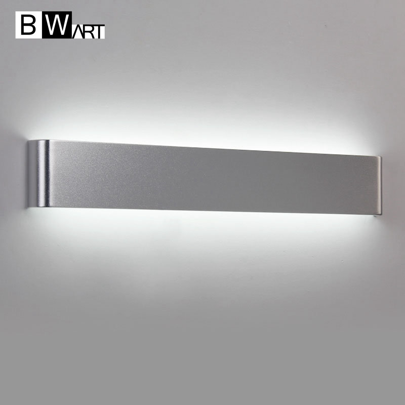 BWART Metal aluminum minimalist led mirror light bathroom wall lamp bedroom makeup 85-265V black silver