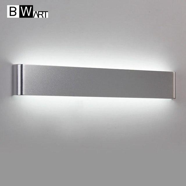 € 22.09 24% de réduction|BWART Métal en aluminium minimaliste led miroir  lumière salle de bains mur lampe chambre maquillage 85 265 V noir argent ...