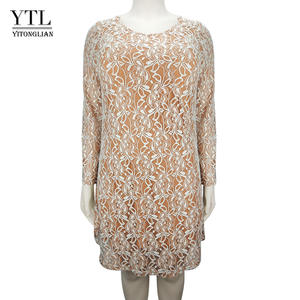 7dc12d8a90 YTL Plus Size Women Clothing Elegant See-through Floral Lace Dress Winter  Long Sleeve Large Size Tunic Dress 6XL 7XL 8XL H143