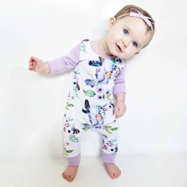 e93a1c1223 2017 Autumn Floral Children Pajamas Romper Newborn Infant Baby Girls Clothes  Cotton Long Sleeve Jumpsuit Overall