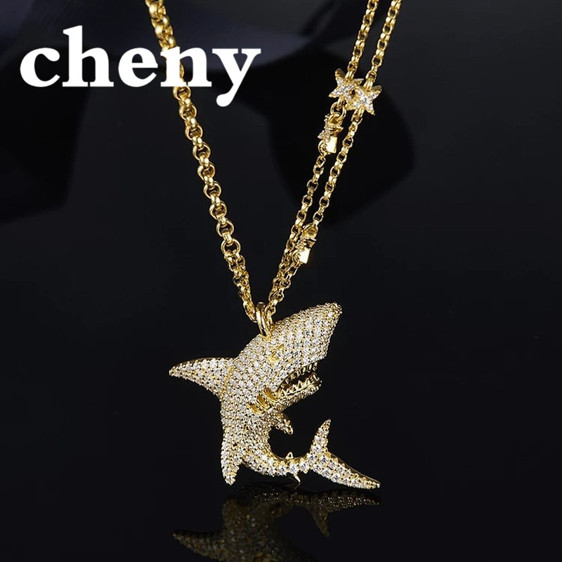 cheny fit apm necklace choker luxury design thick gold big shark shape pendant Jewelry Ocean Sea crystal for female ladies women