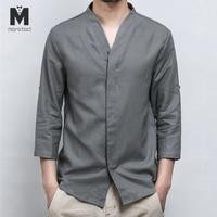 Marstaci Mens Cotton Linen Shirt Men Three Quarter Sleeve Solid Chinese Clothes Male V neck Shirt Big Size 2019 New