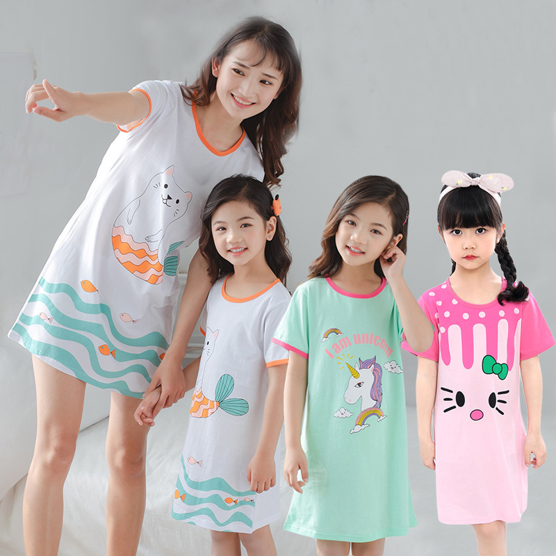 Summer Cotton Pajamas For Girls Mother Kids Unciorn Nightgowns Women Sleepwear Girl Sleeping Dress Causal Nightwear Nightshirt