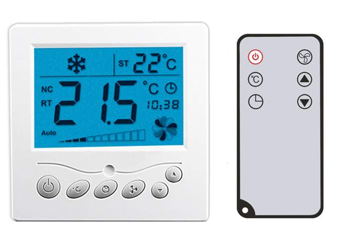 Large LCD TFAEY-307YL Remote Control Thermostat AC220V with backlight for HAVC fan coil and motorized valve