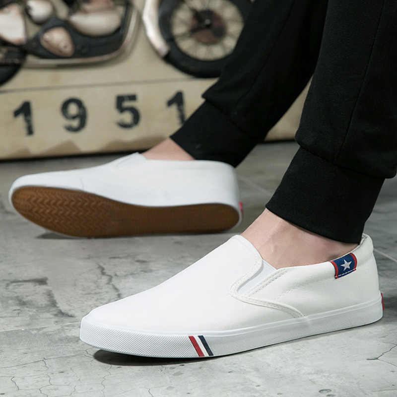 ผู้ชายผ้าใบรองเท้าสีขาวรองเท้าผ้าใบ Casual Loafers รองเท้าแตะชายรองเท้าผู้ใหญ่รองเท้า SLIP ON Flats ฤดูร้อนบุรุษ Zapatos De Hombre
