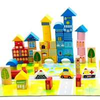 New 62pcs Safety color cartoon images city traffic scene wooden building blocks Children's birthday and Christmas gift