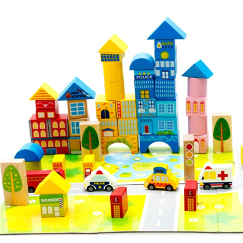 New 62pcs Safety color cartoon images city traffic scene wooden building blocks Children's birthday and Christmas gift 100pcs set safety wooden montessori kids toy color cartoon images city traffic scene wood building blocks child educational toys