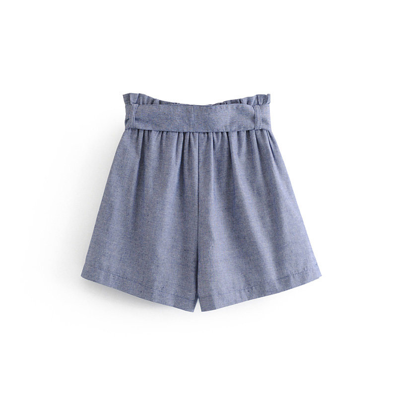 Summer Solid Short Pants Mid Waist Women Casual Fashion Thin Hot Pants Loose Fold Oxford Textile Pants with Bow in Shorts from Women 39 s Clothing