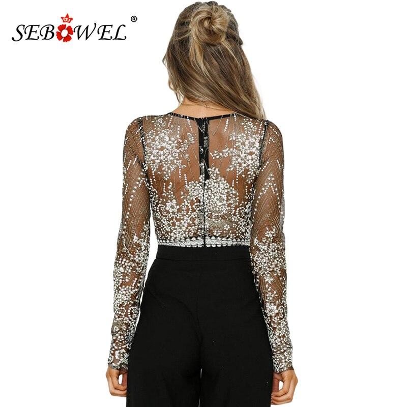 SEBOWEL Sexy Women Black Sheer Long Sleeve Bodysuit Women Princess  Rhinestone Gorgeous Body Tops V neck Backless Bodysuits Mujer-in Bodysuits  from Women s ... 53849e85f