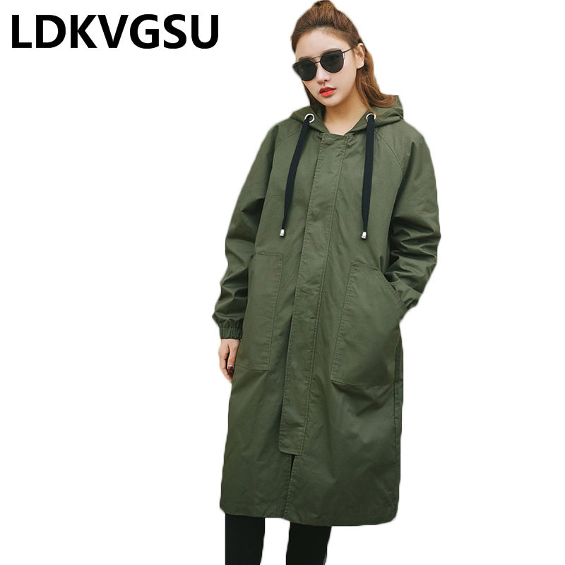 2018 Autumn New Women Long Style   Trench   Coat Thin Solid Outwear Casual Hooded Loose Long Sleeve Coat Female   Trench   Is1130