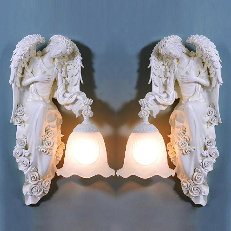 Европейский настенный светильник в виде крыльев Ангела, коридора, спальни, богини, Настенный бра, стеклянный абажур, балкон, крыльцо, Светил