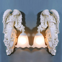 European Resin Wings Angel Corridor Wall Lamp Bedroom Bedsides Goddess Wall Sconce Glass lampshade Balcony Porch Hallway lamps
