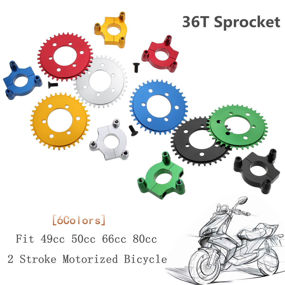 152mm CNC Motorcycle <font><b>36T</b></font> <font><b>Sprocket</b></font> With Adapter For 49cc 50cc 66cc 80cc 2 Stroke Motorized Bicycle image