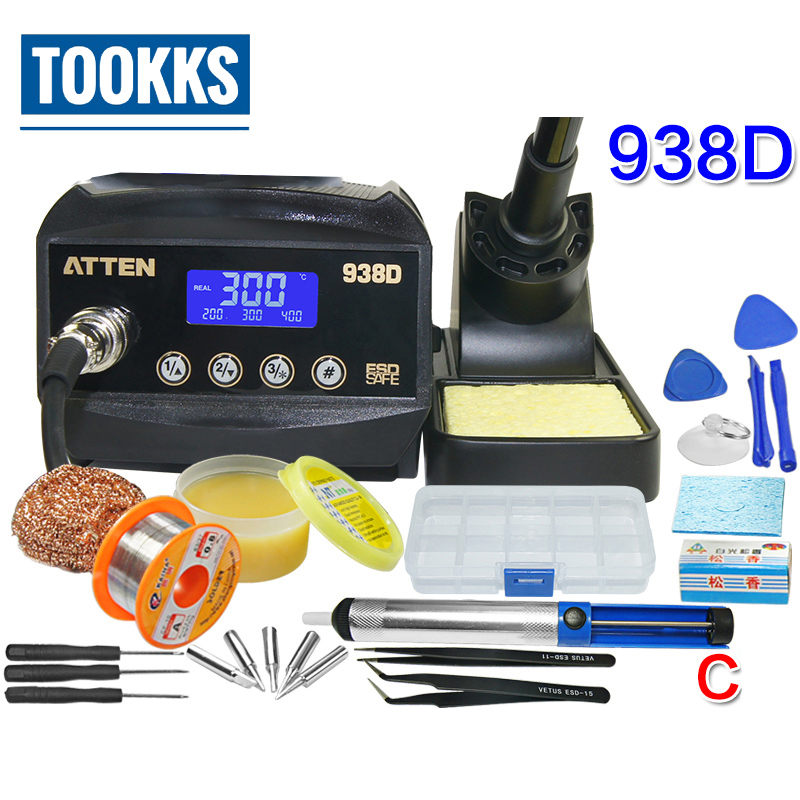 Atten AT938D 60W LCD Display Digital Welding Solder Station Lead Free Temperature Control Adjustable Solder Iron