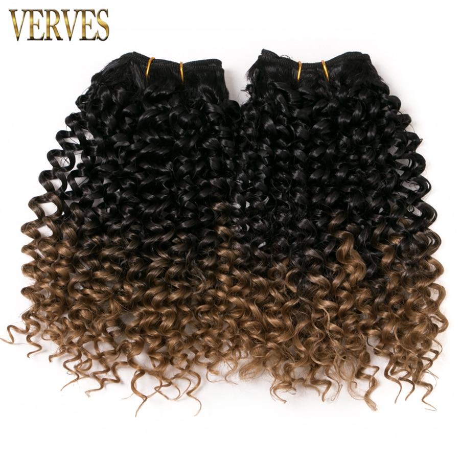 VERVES 6 pack 65g / pack lockiga hårbuntar jerry Braid syntetisk ombre flätning hårdragningar gratis frakt brunt hår vävning