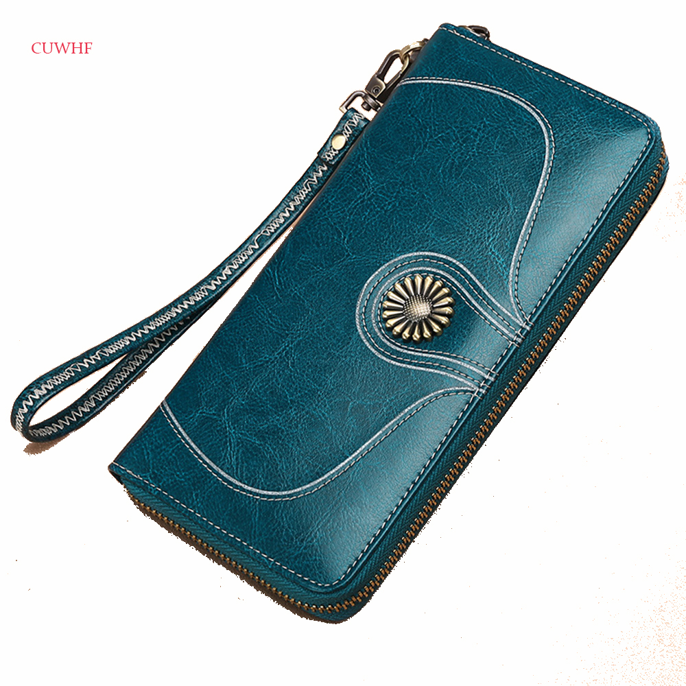 CUWHF Retro Women Clutch New Wallet Split Leather Wallets Female Long Wallet Women Zipper Purse Money Bag For iPhone 7 Plus new oil wax leather men s wallet long retro business cowhide wallet zipper hand bag 2016 high quality purse clutch bag