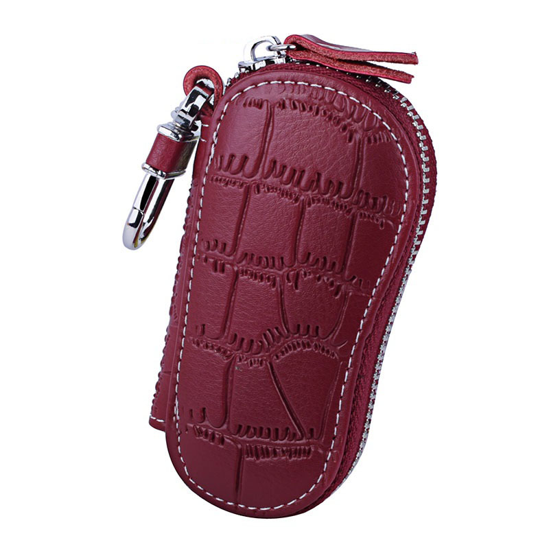 Genuine Leather Keychain Holder Organizer Wallet Car Automobie Key Pouch Men Women Housekeeper Keys Bag  149