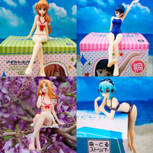 15CM Sword Art Online Asuna To Love Anime Pvc Action Figure Sitting position Sexy Swimwear Model Decoration Collection Gift Toys стоимость