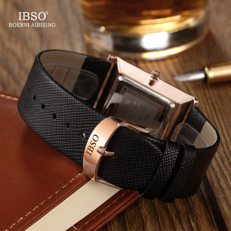 IBSO Ultra thin Luxury Men Watch Rectangle Quartz Wristwatch Nobility Genuine Leather Strap Watch Men Classic Business Men Watch in Quartz Watches from Watches