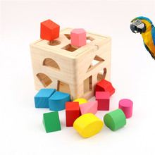Parrots Toys Wooden Colorful Puzzles Stacking Blocks Birds Intellectual Tetris Toy XH8Z