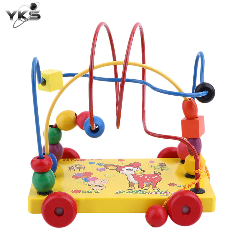 YKS Trailer Toy Baby Wooden Toys Children Educational Toys Mini Trailer Around Beads Maze Game Toy Cars for Baby Christmas Gifts
