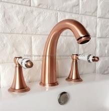 цена на Red Copper Antique Bathroom Sink Faucet Widespread 3pcs Ceramics Handles Basin 3 Holes Mixer Tap Nrg037