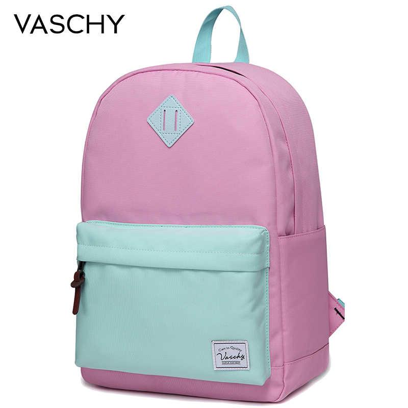 المرأة على ظهره الفتيات VASCHY للجنسين الكلاسيكية مقاومة للماء حقيبة الظهر حقيبة المدرسة 14 بوصة كمبيوتر محمول للمراهقين عادية Daypack
