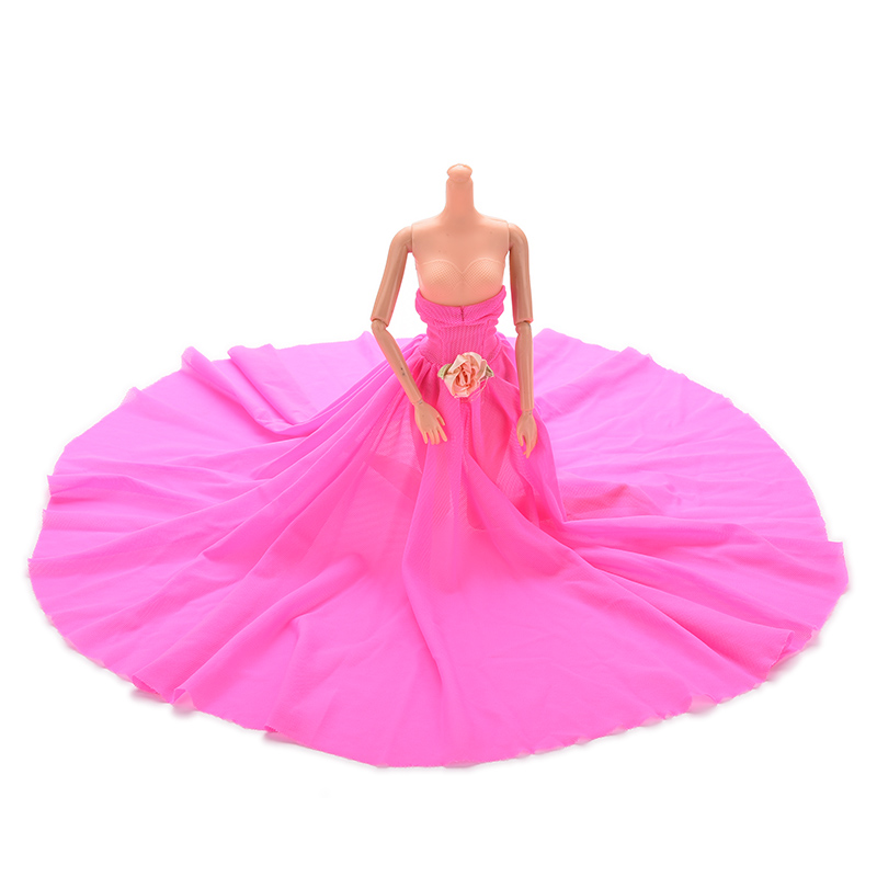 Hot Diy Handmade Doll Clothes Rose Re Evening Wedding Dress Party