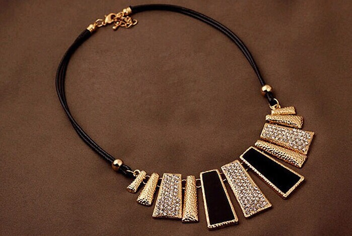 Beads Enamel Bib Leather Braided Rope Chain Necklace 1