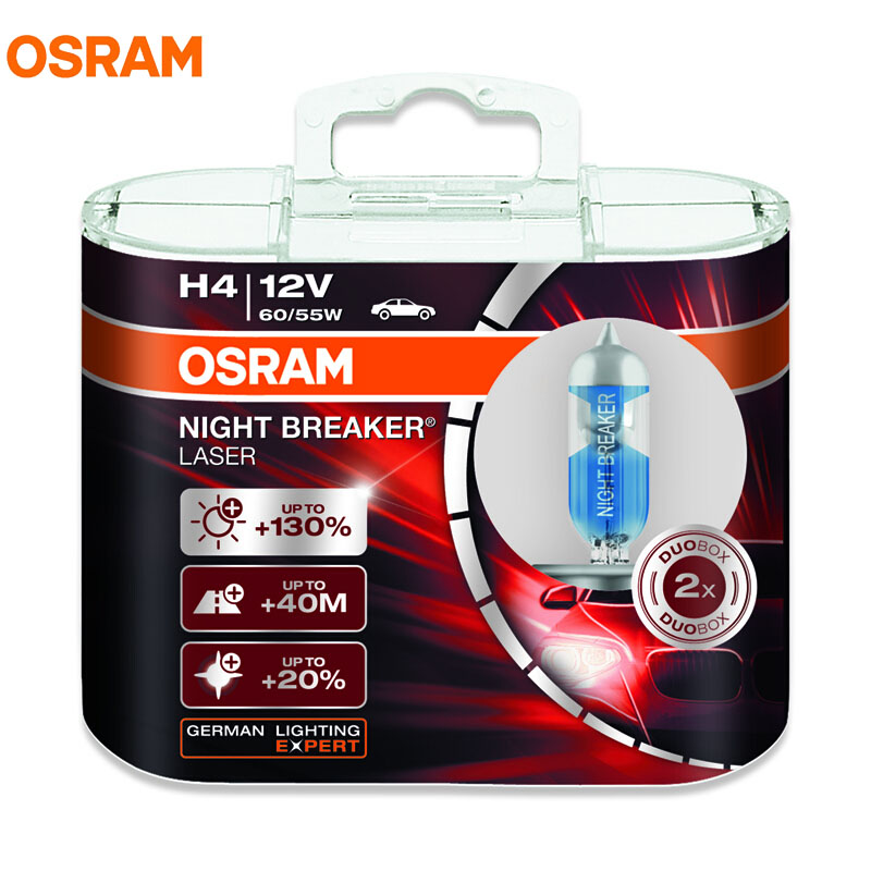 New OSRAM NIGHT BREAKER LASER H4 H7 12V 4300K 2017 Car Headlight Germany OEM Bulbs Halogen Hi/lo Beam 130% Brightness 20% Whiter