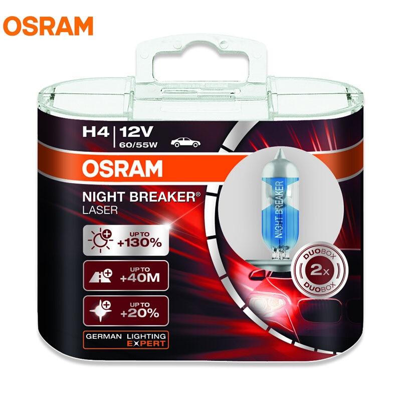 New OSRAM NIGHT BREAKER LASER H4 H7 12V 4300K 2017 Car Headlight Germany OEM Bulbs Halogen Hi/lo Beam 130% Brightness 20% Whiter