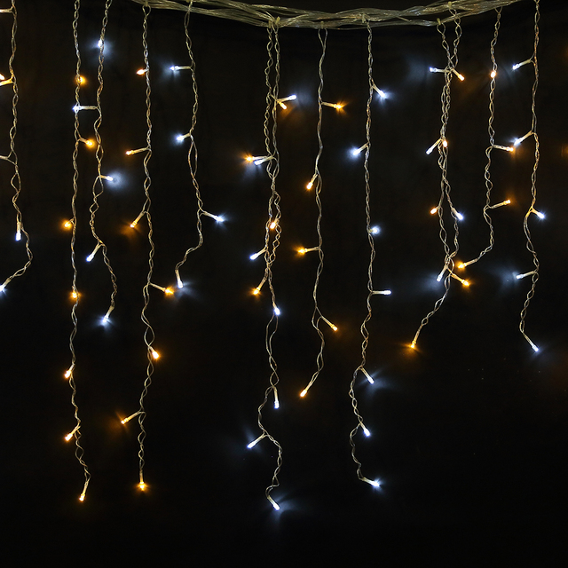 Agm Led Light Curtain Christmas Garland New Year String Holiday Icicle 5m 96 Fairy Lights Connectable Decorations For Home