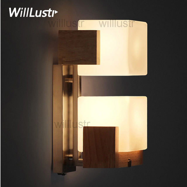 willlustr cubi wandleuchte glas lampe holz basis cubic design moderne licht hotel restaurant tr veranda eitelkeit