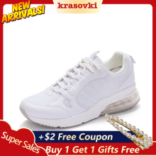 Krasovki Spring Autumn Casual Sneaker Platform Walking Women High Sole Flats Shoes Loafers Small White