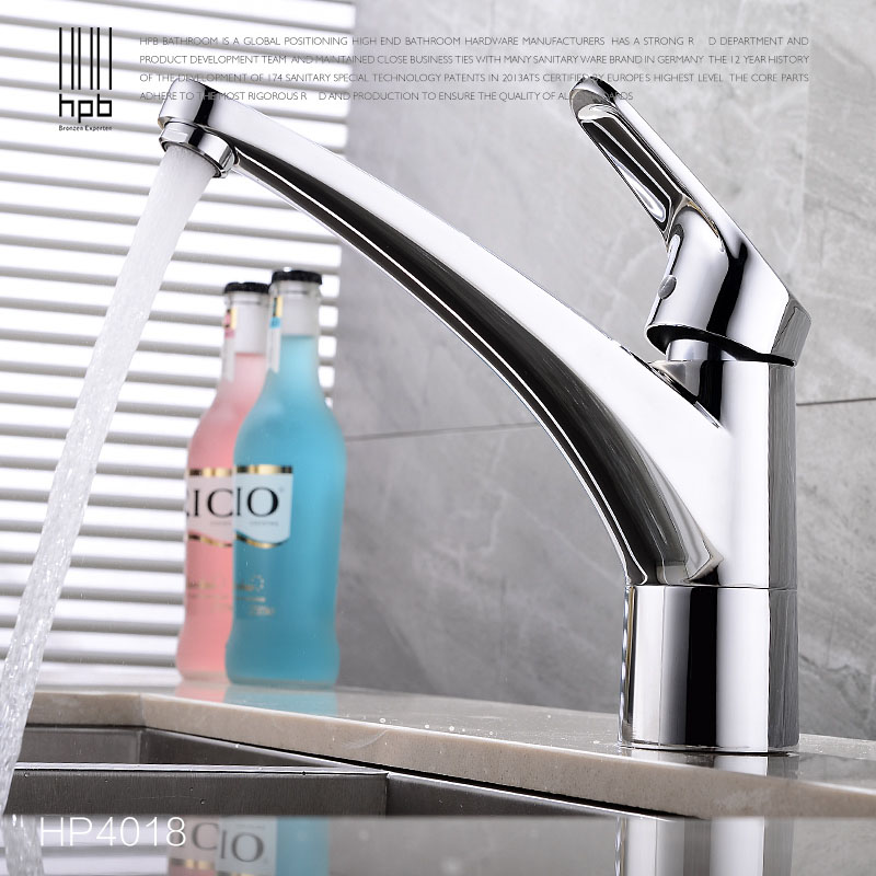 HPB Free Shipping Brass Hot and Cold Water Bathroom Kitchen Faucet Mixer Tap Deck Mounted Basin Sink Torneira de Cozinha HP4018 hpb brass morden kitchen faucet mixer tap bathroom sink faucet deck mounted hot and cold faucet torneira de cozinha hp4008