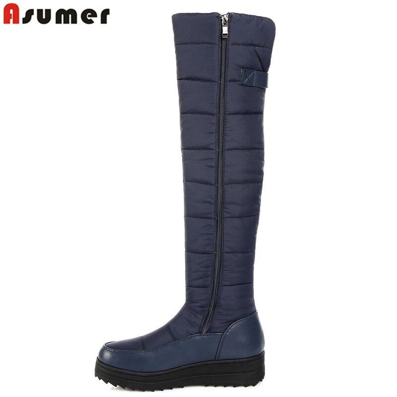 ASUMER 2018 neuf de haute qualité vers le bas chaud neige bottes femmes bout rond plate-forme cuisse haute bottes de mode fermeture éclair sur la genou bottes