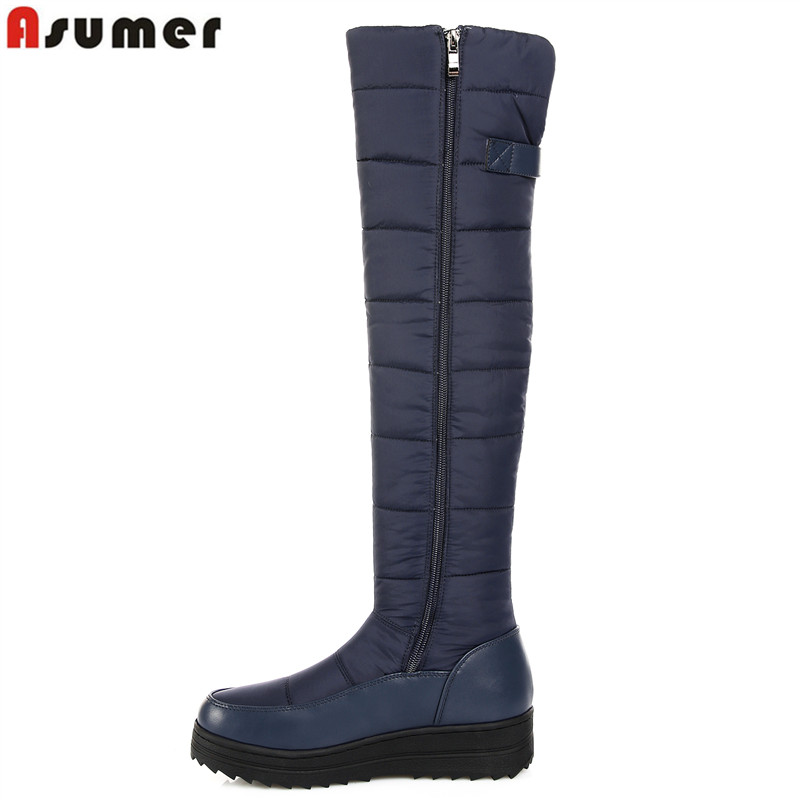 ASUMER 2018 new high quality down warm snow boots women round toe platform thigh high boots fashion zipper over the knee boots womens lace up over knee high suede women snow boots fashion zipper round toe winter thigh high boots shoes woman