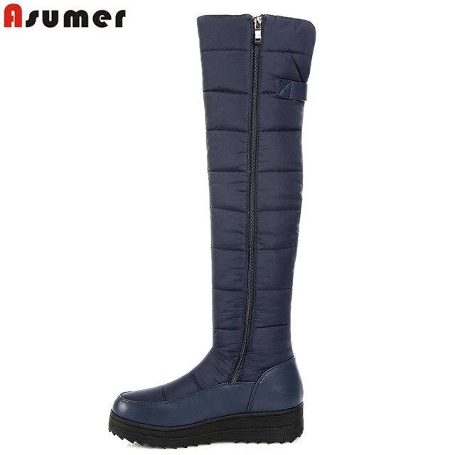 ASUMER 2018 yeni yüksek kalite aşağı sıcak kar çizmeler kadın yuvarlak ayak platformu uyluk yüksek çizmeler moda fermuar üzerinde diz çizmeler
